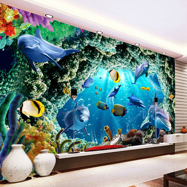 Custom 3D Photo Wallpaper For Kids Room Cartoon Underwater World Dolphin Wall Painting Living Room Bedroom Mural Wallpaper Decor