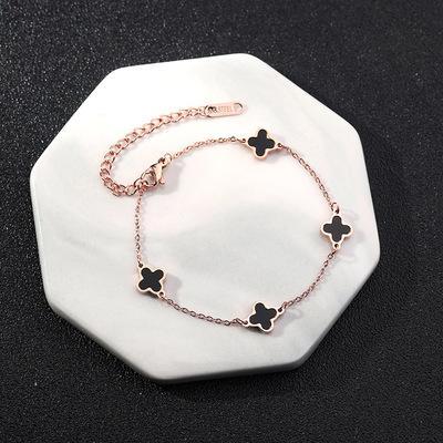 Four-leaf clover seven small daisies bracelets bells long life lock bracelet butterfly tassel pendant beads anklet jewelry gift