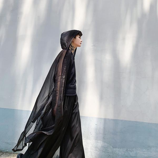 Hommes D'été Style Long À Capuche Trench-Coat Maille Mince Écran Solaire Veste Mâle Femmes Streetwear Punk Gothique Cardigan Survêtement