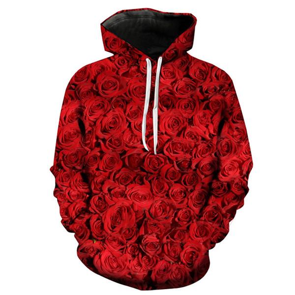Mens Hoodies Men's Fashion Valentine's Day 3D Rose Love Long Sleeve Hat Guard Streetwear Fashion Blouse Top Jacket Man