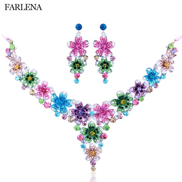 wholesale Jewelry Hand Paint Multicolor Crystal Rhinestone Plum Necklace Earrings for Women Wedding Christmas Prom Jewelry sets