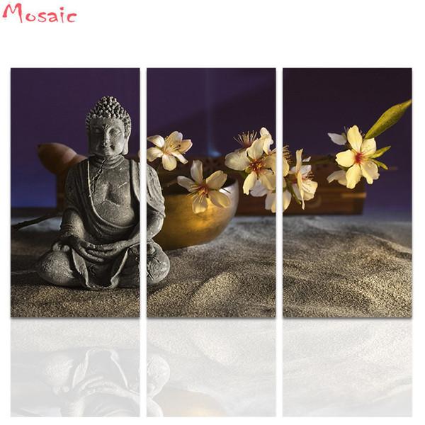 алмазная вышивка сделай сам алмазная картина 3 шт. Будда Wall Art Статуя Будды с абстрактными белыми цветами