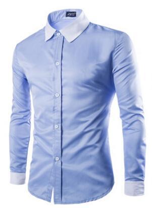 2017 Camisa de hombre de moda Negro Blanco de manga larga Tops Diseño de tres hebillas Camisas de vestir de hombre de color simple Camisa de hombre delgada