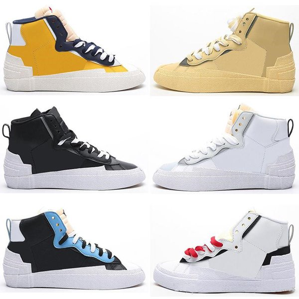 2020 new sacai x blazer mid ldv men women running shoes camo maize navy black white platform flat dunk mens trainers sports sneakers, White;red