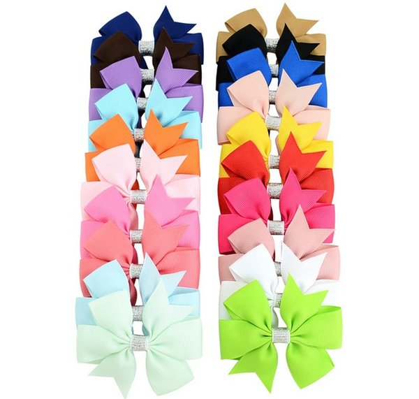 3 Inch Solid Grosgrain Bowknot Ribbon Classical Bow Hairpin With Popular Hair Clip For Girls Headdress Accessory A91