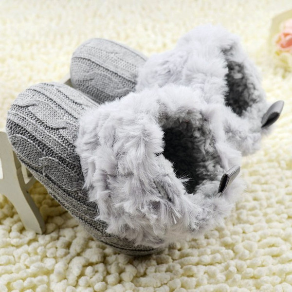 baby girl boy winter boots soft crib snow shoes boots cotton wool solid color knitted thicken infant boy girl 0-18m