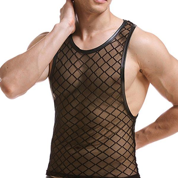 Summer Mens Plaid Fishnet Tank Tops Man Sexy Funny Fitness Tops Mesh Singlets Diamond Mesh Vest Performance Wear Undershirts #779608