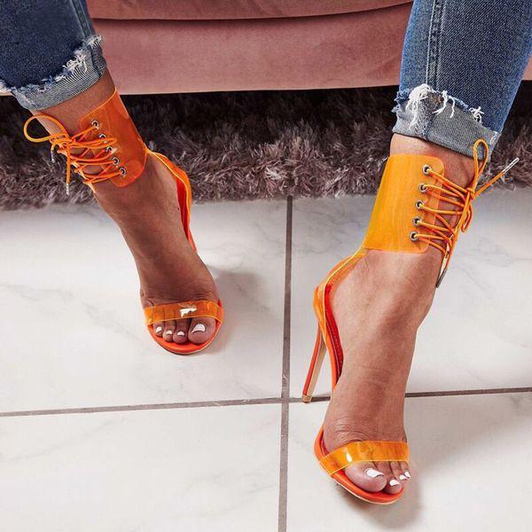Turuncu Kadın Ayakkabı Şeffaf Sandalet Pompalar 11 CM Yüksek Topuklu Pompalar Seksi Dantel-Up Bayanlar Parti Ayakkabı 2019 Boyutu 35-43 Kadınlar