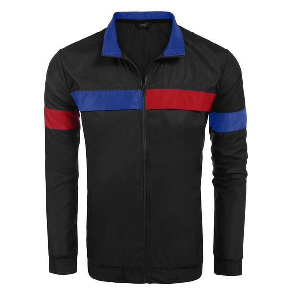 Men Lightweight Stand Collar Long Sleeve Pockets Zip-up Zipper Waterproof Regular Jacket Spring, Autumn Casual