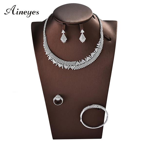 Aineyes 2019 Noble Micro Pave Cubic Zirconia Dubai Set di gioielli Ultimi gioielli da sposa di lusso 4 pezzi Set per le donne TL002