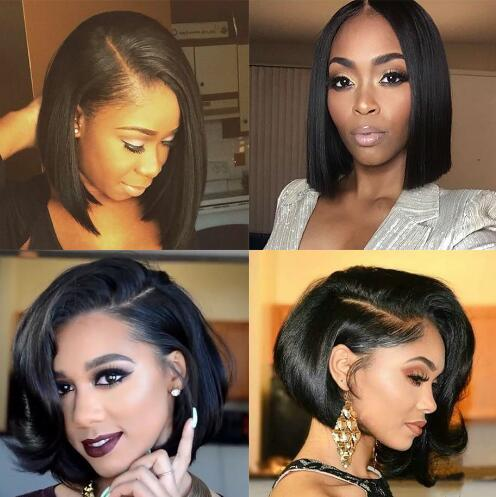 No Tangle Short Lace Front Human Hair Wigs Bob Wig Full and Thick For Black Women Natural Color Brazilian Remy Free Shipping