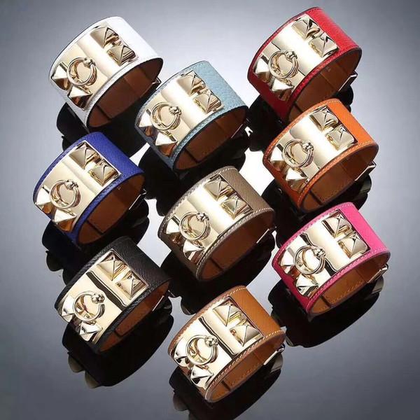 High-quality fashion wide Bracelet Men and women punk wind Bracelet cross pattern stainless steel eight-nail Leather Bracelet