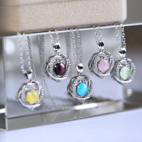 Gemstone Heart Shape Stone Crystal double heart Pendant Rose Quartz Green Aventurine Amethyst Moonstone with Brass Chain