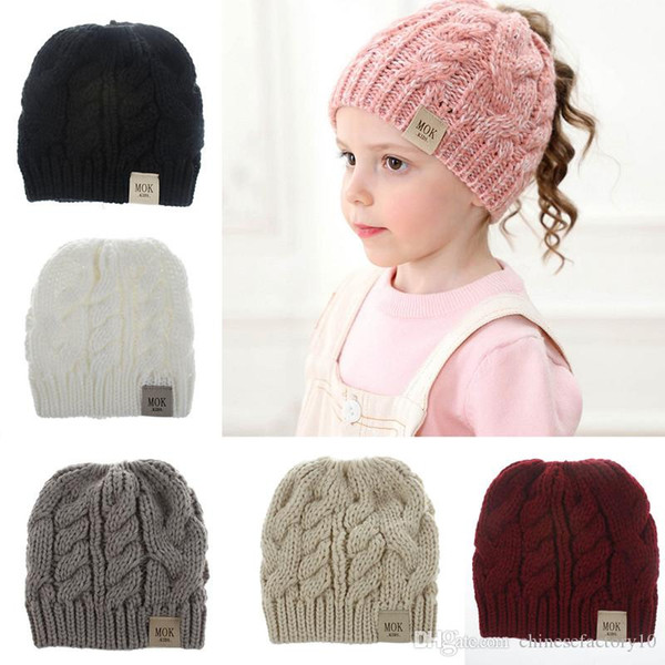 Tejer Kid Crochet Beanies Sombrero Chica Pony Tail Winter Warm MOK Stretchy Caps 8 colores Nuevo