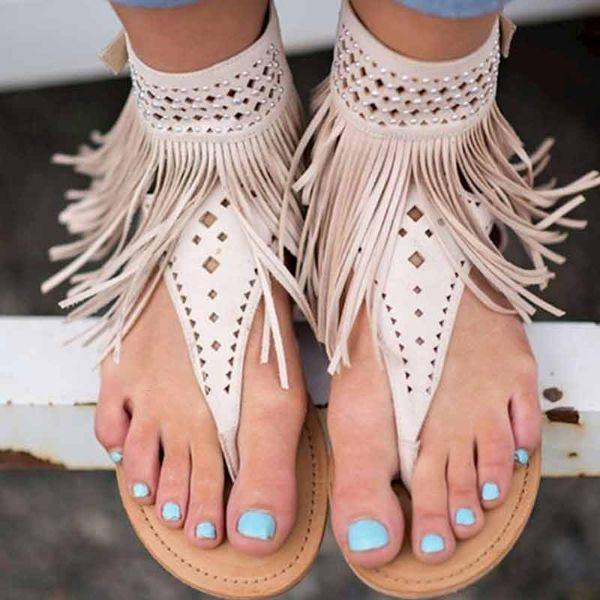 Gladiador Sandálias Das Mulheres Flip Flops Retro Roma Sandálias Flat Mulheres Buckle Strap Franja Sapatos Femininos Sapatos de Verão Sandalias Feminino
