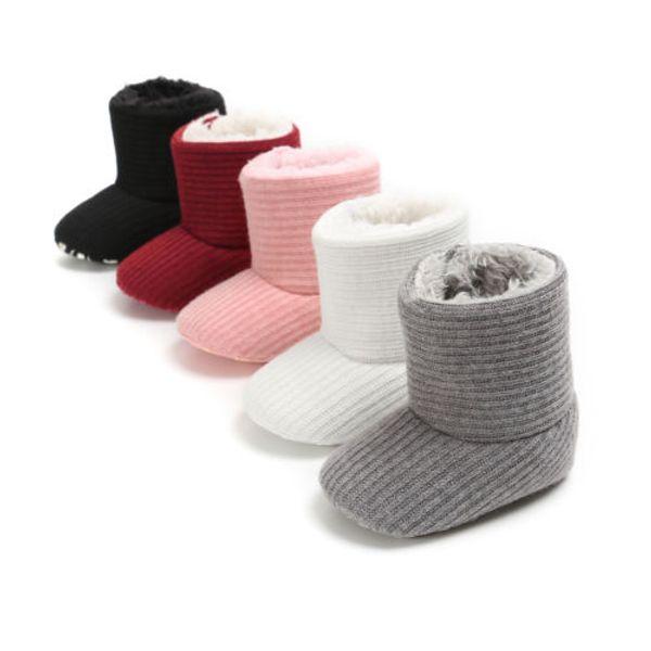 0-18M Newborn Baby Kids Boys Girls Shoes Winter Boots Warm Fleece Snow Boots Infant Booties Soft Sole Plush Fur Knitting Shoes
