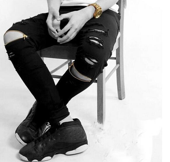 New ripped Frayed jeans for men skinny destroyed famous slim brand designer hip hop swag tyga HBA black biker jeans kanye west