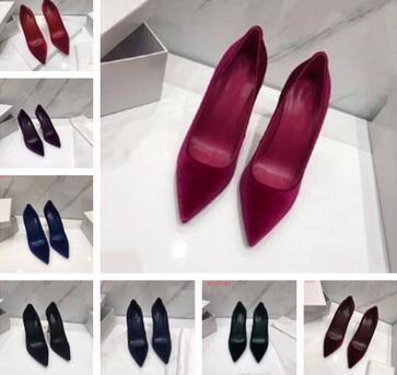 2019 Модная Роскошная 22d Дизайнерская Женская Обувь Красный Низ Высокие Каблуки 8 см 10 см 12 см Обнаженная Черный Красный Кожа Острым Носом Насосы Туфли 6