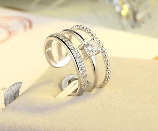 New three-layer opening diamond ring female hipster adjustable size multi-layer ring