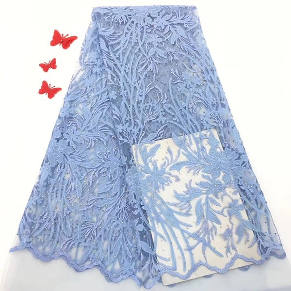 EPT1215 New arrival French net lace 5 yards/set with beads High quality African chiffon fabric for making dress!