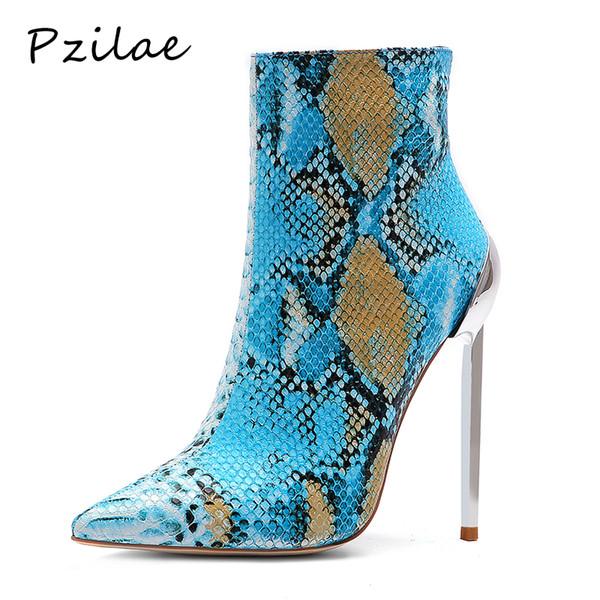 Pzilae botines mujer 2019 moda botas de salto alto mulheres ankle boots para mulheres sexy saltos altos apontou toe tornozelo zipper