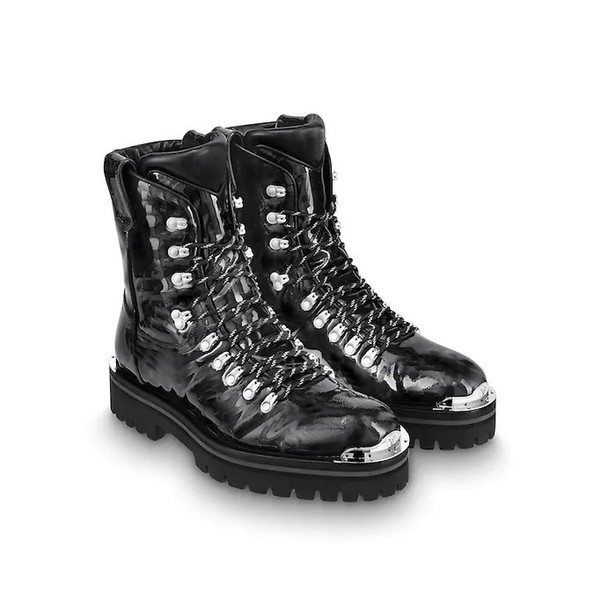 2018-2019 новый Outland ботильоны для мужчин женщин дизайнер пешие прогулки сапоги высокое качество мода глянцевая лакированная кожа зашнуровать обувь
