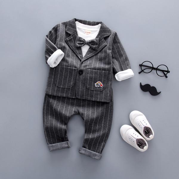 good quality 3PC Toddler Baby Boys Clothes Outfit Boy Kids Gentleman Suit Outfits Sets Grid False 3pcs Set Boy Style Children suits