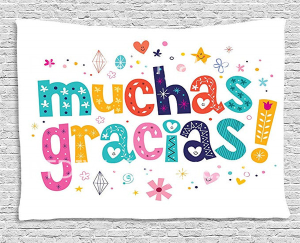 2019 Mexican Decor Tapestry Spanish Thank You Quote With Cartoon Style Hearts Diamonds Flowers Artwork Wall Hanging For Bedroom Living Room From