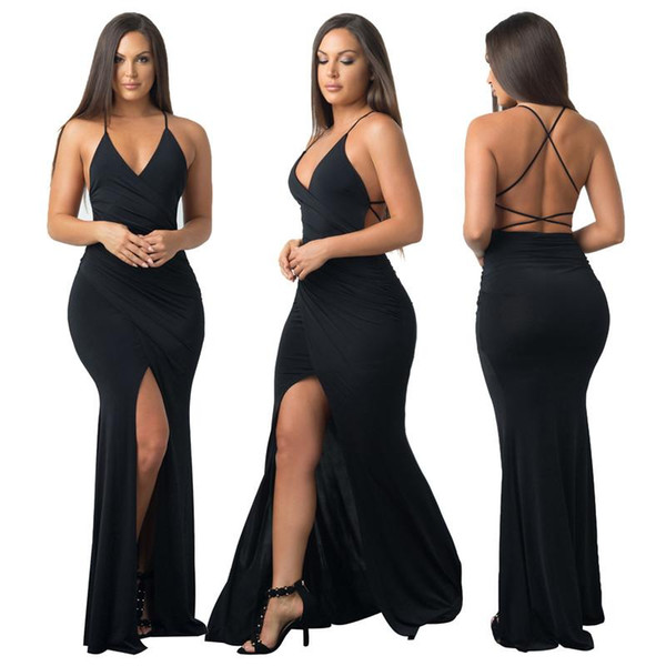 Cheap Explosive Sexy Black Dress Pure Halter Halter Split Party Dress Nightclub Woman Wardrobe Must Have Large Inventory