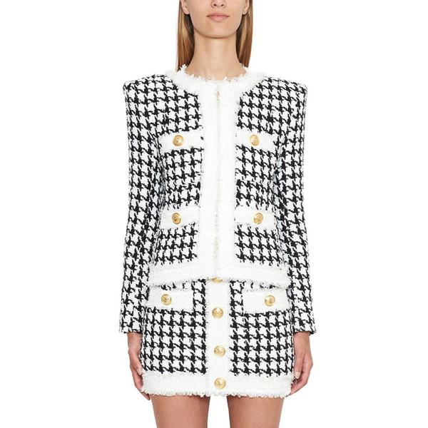 HIGH STREET Neueste 2019 Herbst Winter Designer Jacke Damen Zip Hahnentritt Fransen Tweed Jacke Mantel