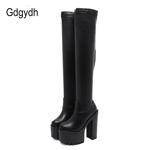 gdgydh thigh high boots for tall women utral high heels shoes nightclub party platform boots over the knee women stretch winter