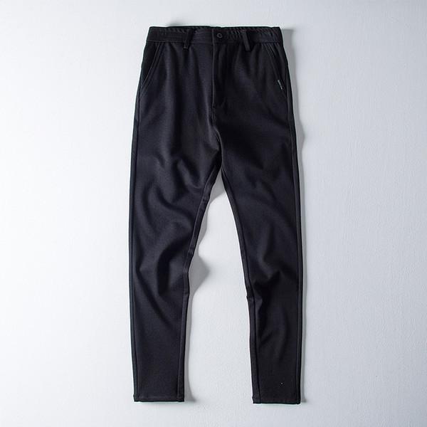 Pantalon Homme Men Casual Elastic Waist Straight Pants Solid Color Black Wide-leg Trousers Men Clothing Zipper Fly Business Pant