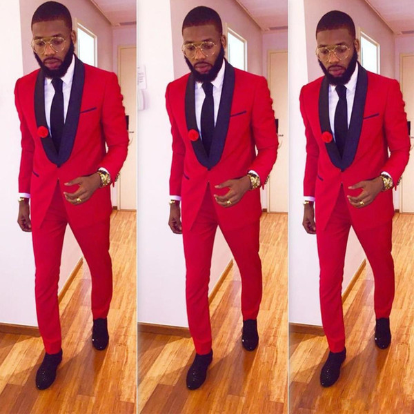 Newest Red with Black Shawl Lapel Slim Fit Men's Tuxedos One Button Two Pieces Suit Sets Custom Made Wedding Wear (Jacket+Pant)