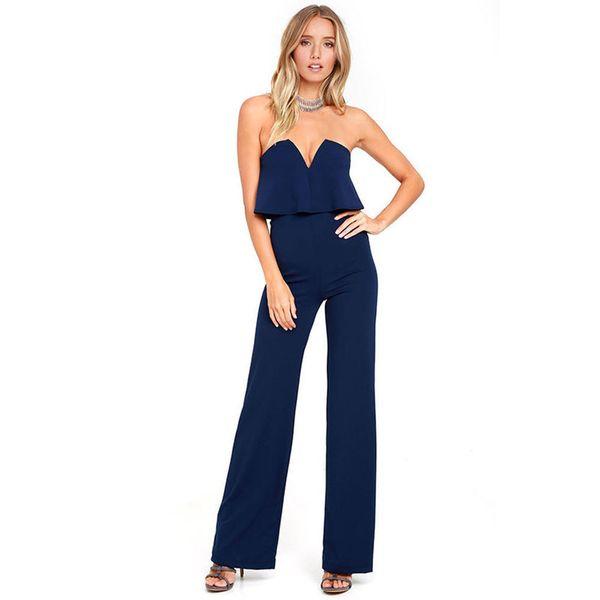 blue backless Sexy Tube Top Shoulder Front V Lead Pants women jumpsuit elegant body femme combinaison femme body mujer jumpsuits