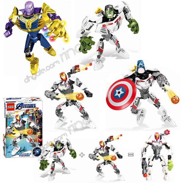 the Avengers Endgame Assembly Robot Building Blocks Marvel Captain America Iron man Hulk Thanos Figures Kids Toys Diy Puzzle Blocks Gifts