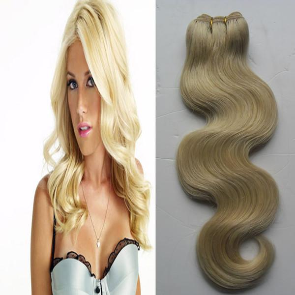 613 Sarışın İnsan vücut dalga Saç Paketler 1 ADET Bal Sarışın Demetleri Perulu Remy Saç Dokuma% 100% İnsan Saç Dokuma