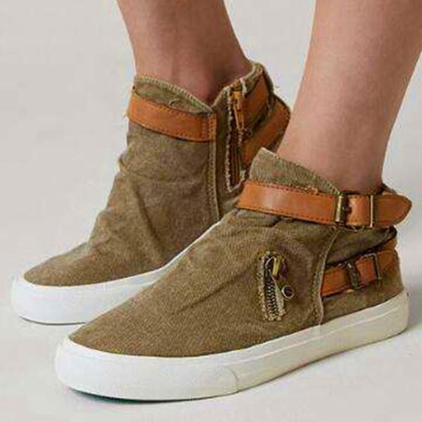 Acheter High Top Chaussures De Toile Pour Femmes Grande Taille 41 43 Fashion Zipper Denim Chaussure Filles Sneakers 2019 Printemps Automne Strap De