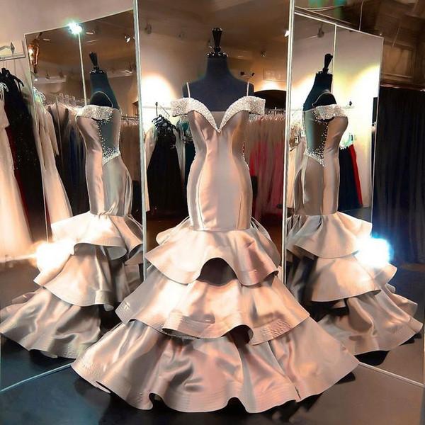 2019 luxury grey taffeta mermaid evening dresses sweep train beads off shoulder prom gowns deep v neck ruffles women formal dress prom