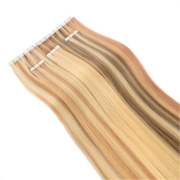 200 gramos de color dibujado doble P 27/613 16- 24 pulgadas Cinta de PU de trama de piel de pegamento en extensiones de cabello humano REMY brasileño Envío barato a EE. UU.