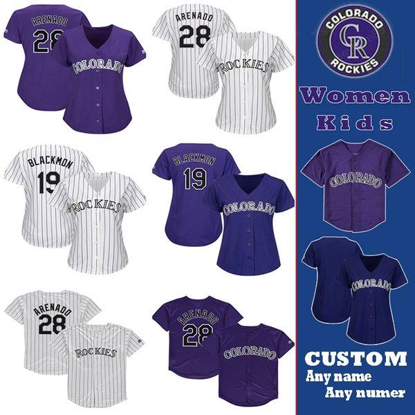 Custom Colorado Womens & kids youth Jersey Rockies 28 Nolan Arenado 19 Charlie Blackmon 21 Kyle Freeland 9 Daniel Murphy Baseball Jerseys