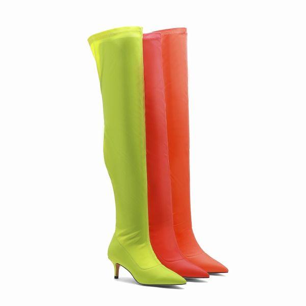 Prix discount femme botte longue fait à la main super star bottes soldes promotion chaussures mode T show footwears vert automne bottes personnaliser la taille