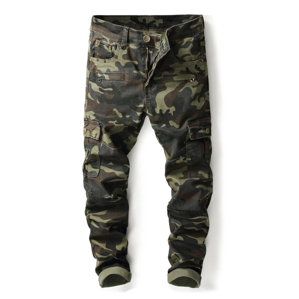 Fashion Designer Mens Camouflage Cargo Pants jeans Straight Leg Pocket Overall Slim Fit Streetwear panelled Casual Denim Pants 8008