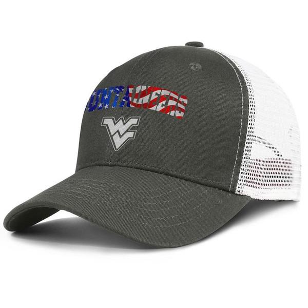 Gorra de malla de visera de lujo Hombres Mujeres-West Virginia Montañeros baloncesto EE. UU. Bandera logo diseñador gorra snapback tapa de cubo ajustable al aire libre