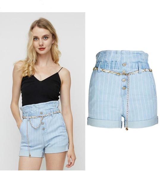 2020 women's stripe short new summer fashion simple stripe elastic waist skinny denim shorts with fashion belt shorts female