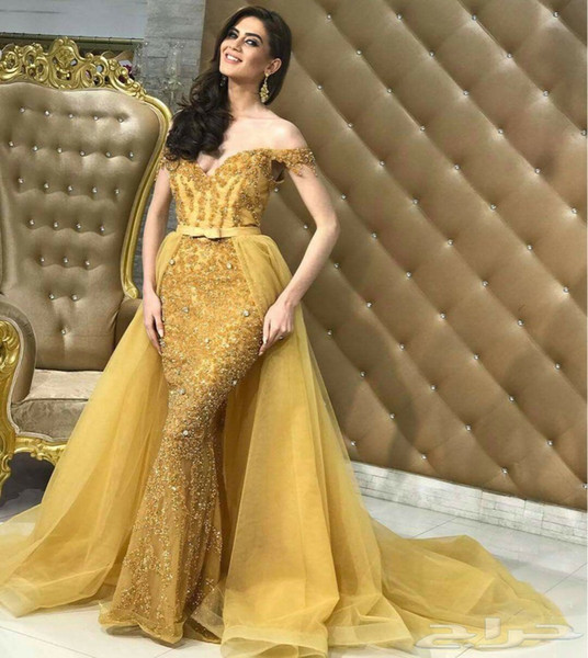 Gold Arabic Off Shoulder Mermaid Prom Dresses With Detachable Overskirt Evening Wear Lace Sequins Beaded Organza Prom Celebrity Gowns Cheap