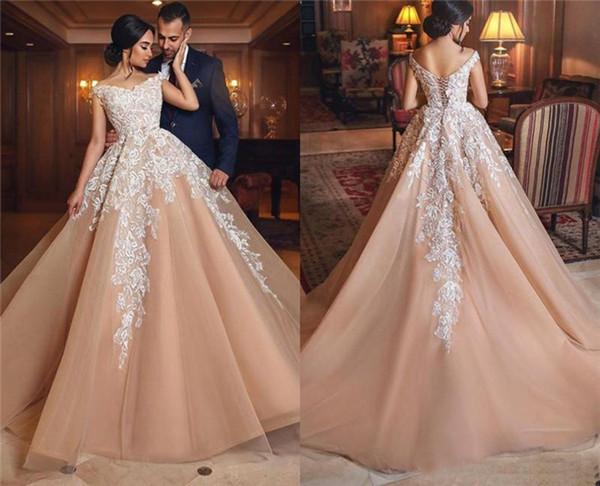 Arabic Modern Lace Applique Wedding Dresses A Line V Neck Off Shoulder with Corset Back Long Tulle Bridal Gowns