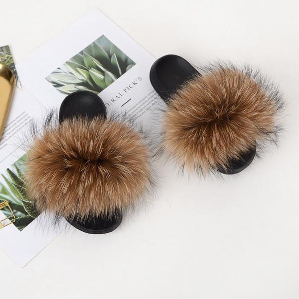 Hot Sales Summer Women Fox Fur Slippers Real Fox hair Slides Female Furry Indoor Flip Flops Casual Beach Sandals Fluffy Plush Shoes