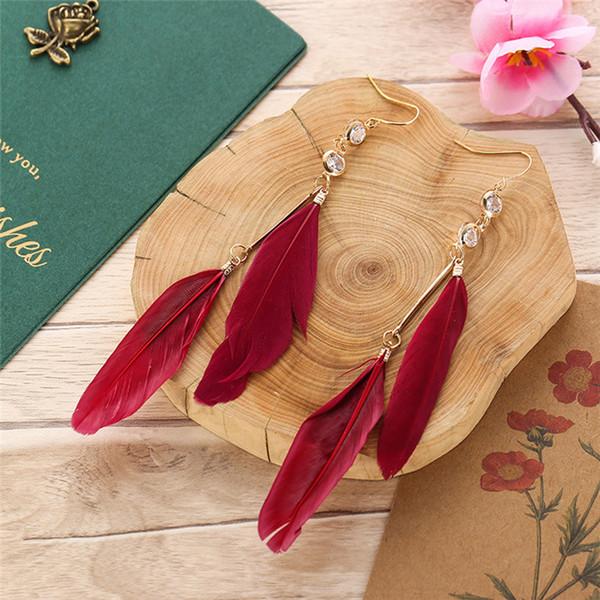 Accesorios de explosión pendientes de borla de plumas largos pendientes largos femeninos de bohemia joyería