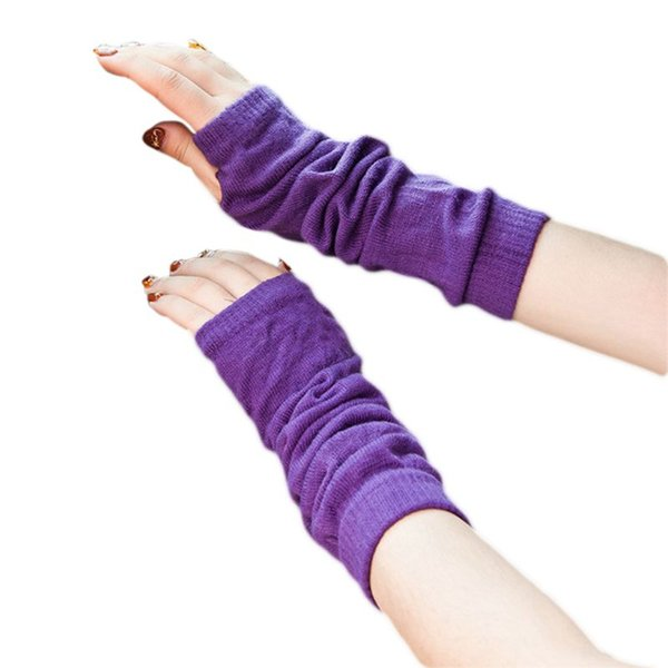 Women Winter Ribbed Knitted Fingerless Gloves Girls Ruched Solid Color Elbow Length Mittens Long Thermal Protective Half Finger