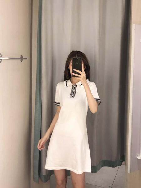 2019 diseñador de ropa de mujer de marca de ropa de verano con lujo de la perla de la borla de la solapa de tuberías vestido ocasional con cuatro colores al por mayor